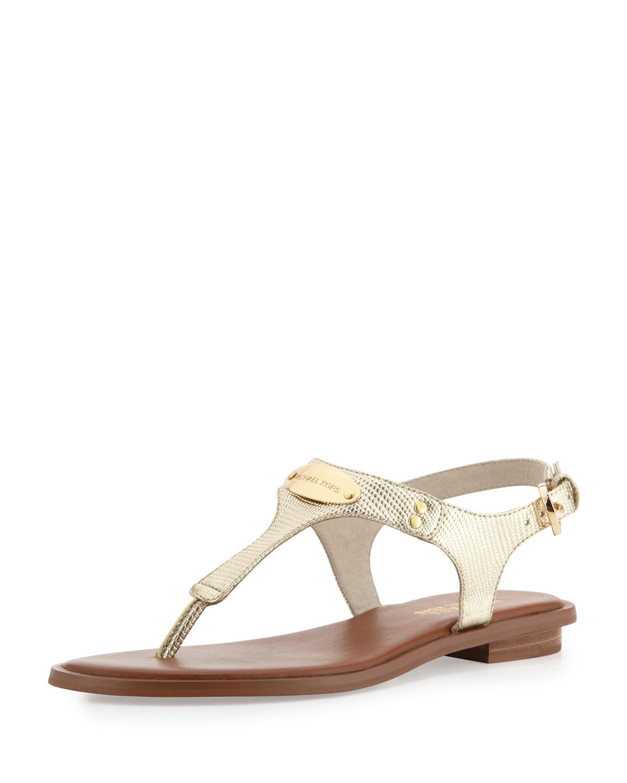 d662153ec8dba3 Lyst - MICHAEL Michael Kors Plate Thong Sandal in Metallic
