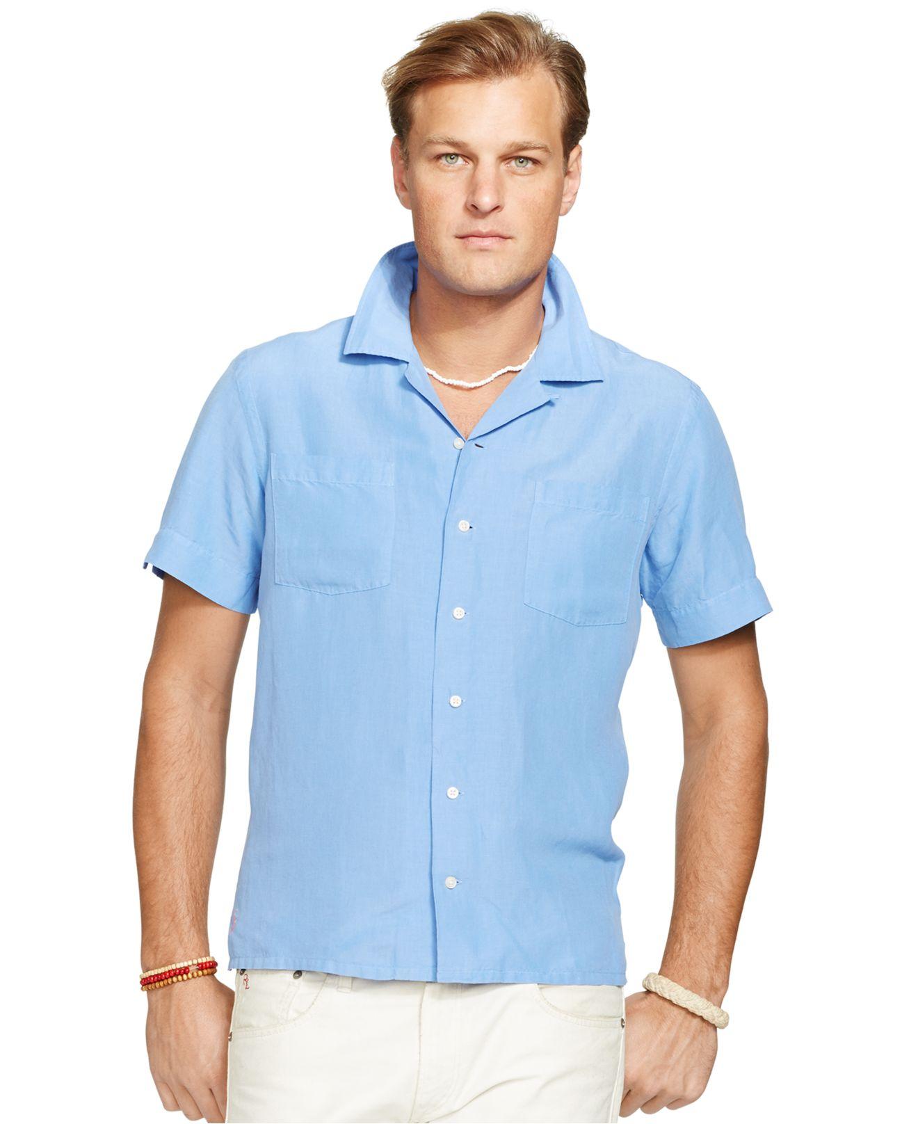 Polo Ralph Lauren Big And Tall Linen Silk Camp Shirt In