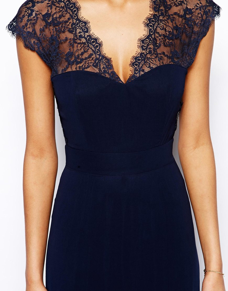 Lyst Elise Ryan Maxi Dress With Lace Scallop Back In Blue