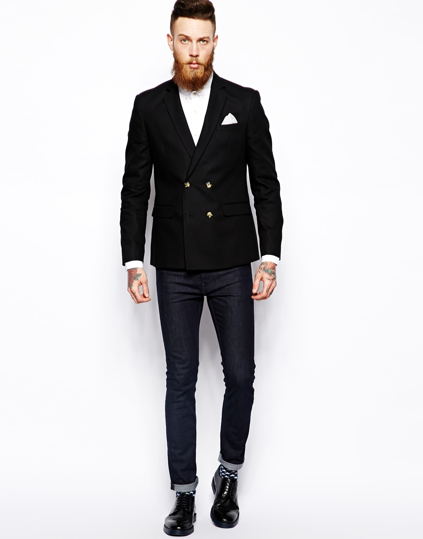 Asos Slim Fit Double Breasted Blazer In Cotton in Black for Men | Lyst