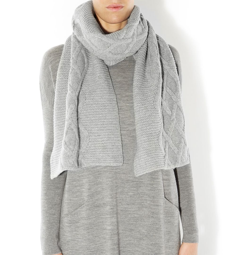 hobbs oversized cable scarf in gray lyst