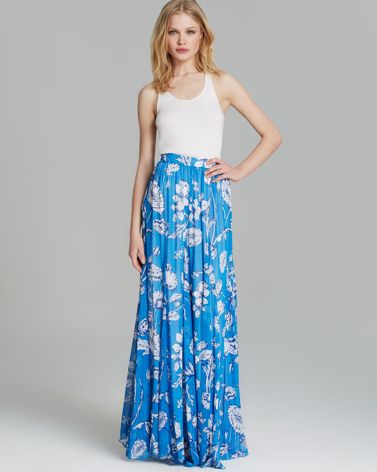 Alice   olivia Alice Olivia Maxi Skirt Louie Floral Print in Blue ...