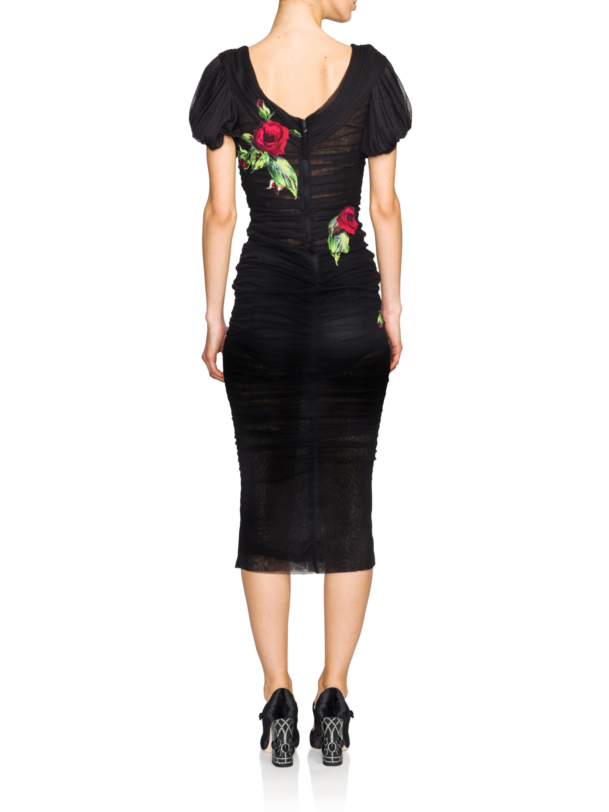 Dolce Amp Gabbana Tulle Ruched Rose Dress In Black Lyst
