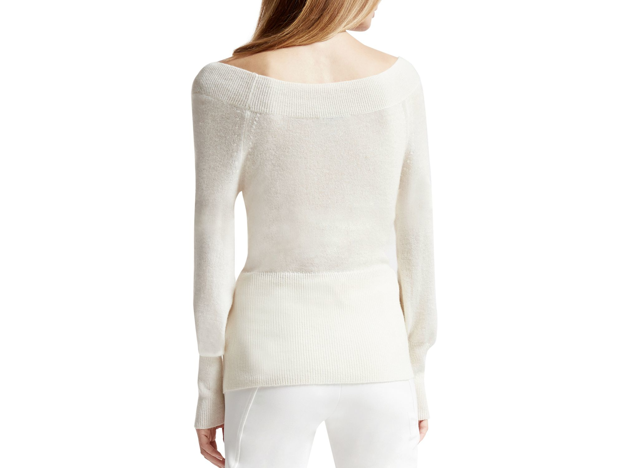 dbfb9b1da67 Lyst - Halston Off-the-shoulder Cashmere Sweater in White