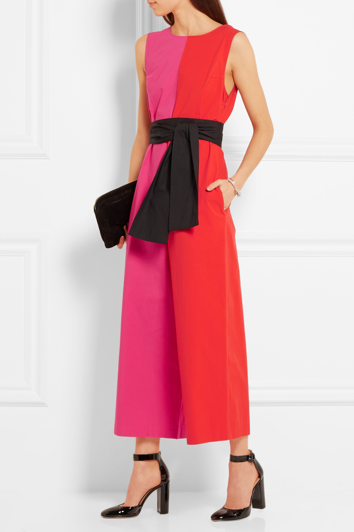 a15ae232ef Lyst - Isa Arfen Color-block Stretch-cotton Poplin Jumpsuit in Pink