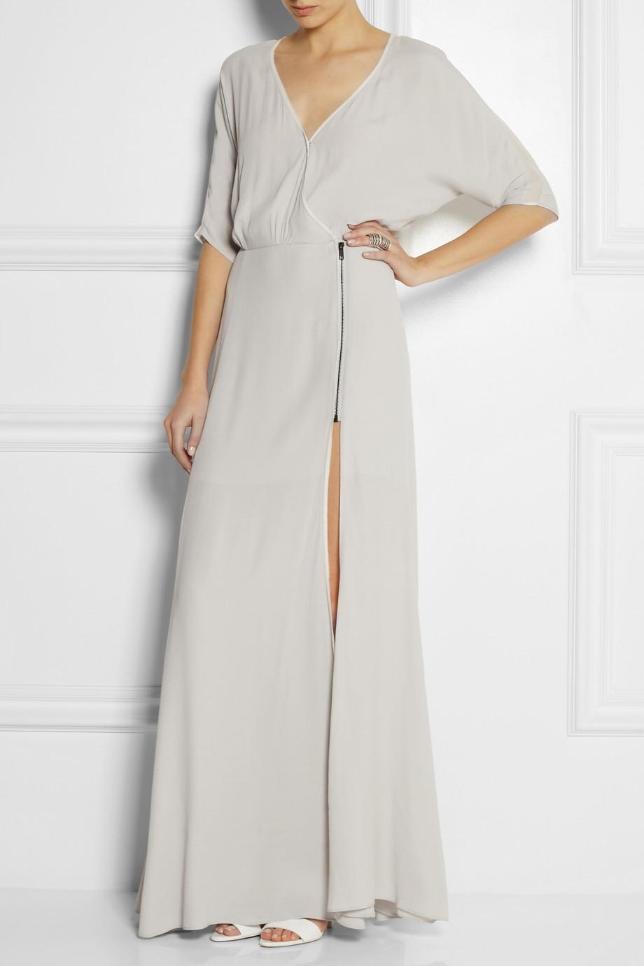 a370d35ccd31 Dagmar Lillian Wrapeffect Crepe Maxi Dress in Gray - Lyst