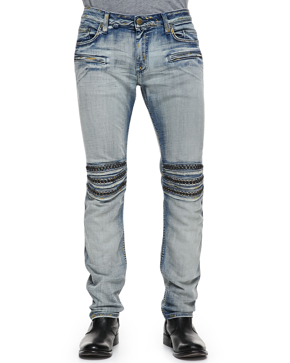 Robin 39 S Jean Gold Miner Motor Faded Studded Jeans In Blue