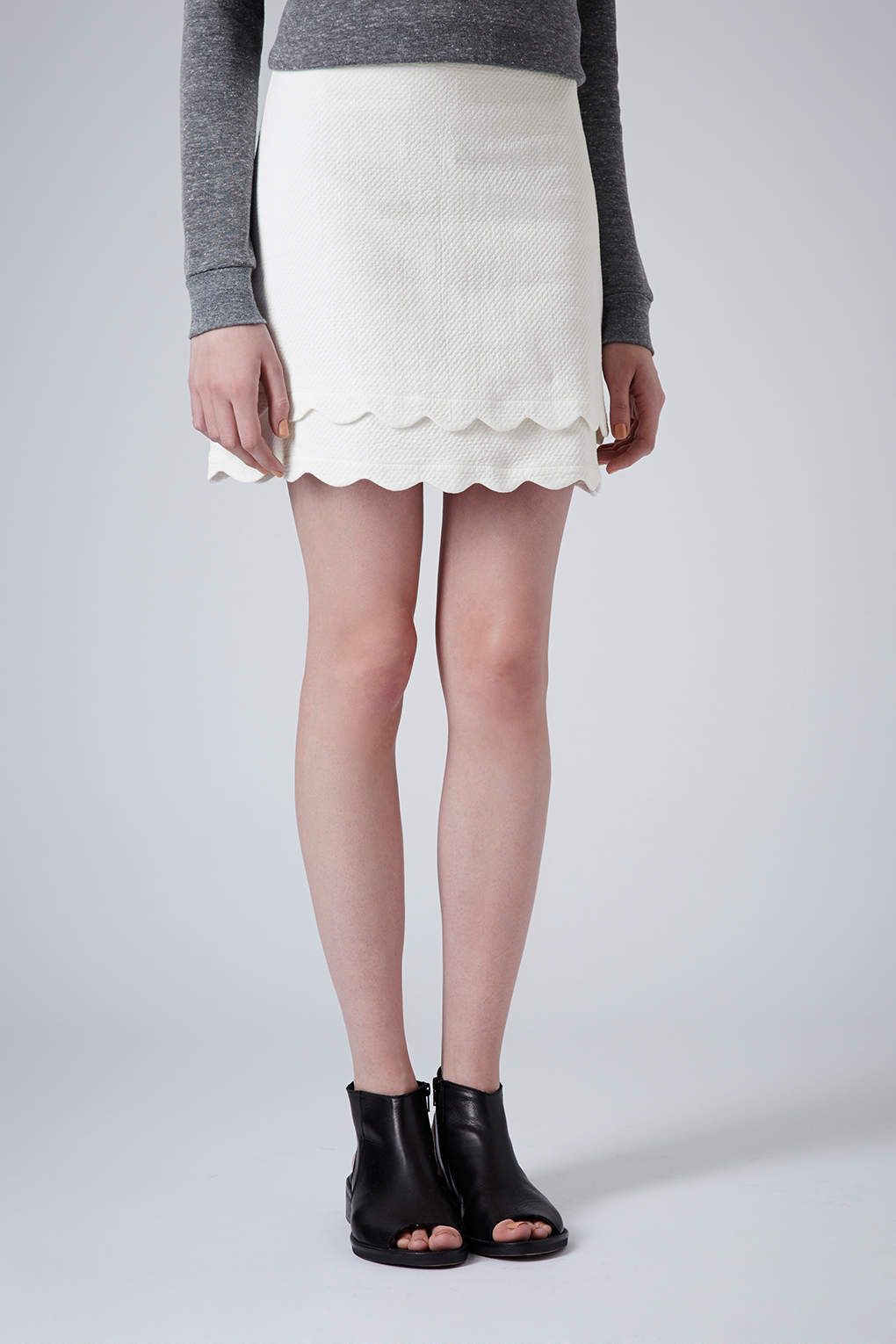 80187c99a TOPSHOP Double Scallop Aline Skirt in White - Lyst