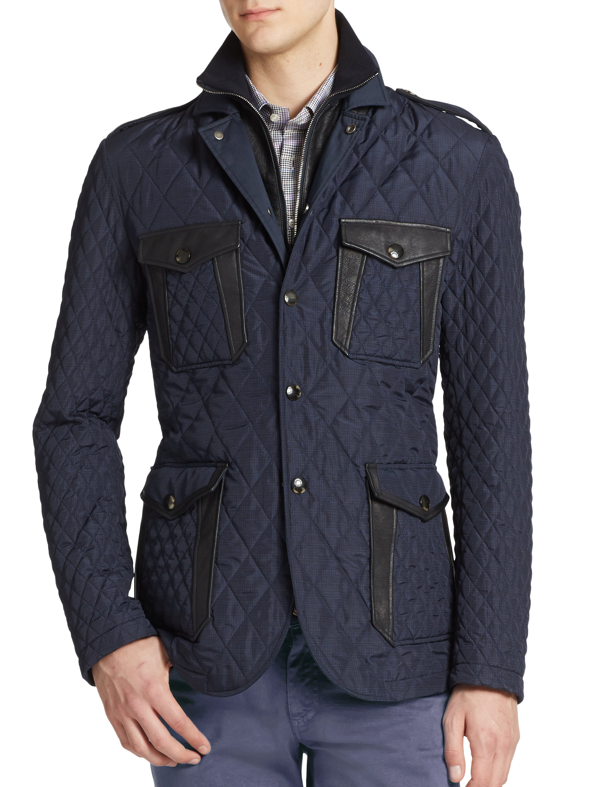 Lyst Etro Quilted Jacket In Blue For Men