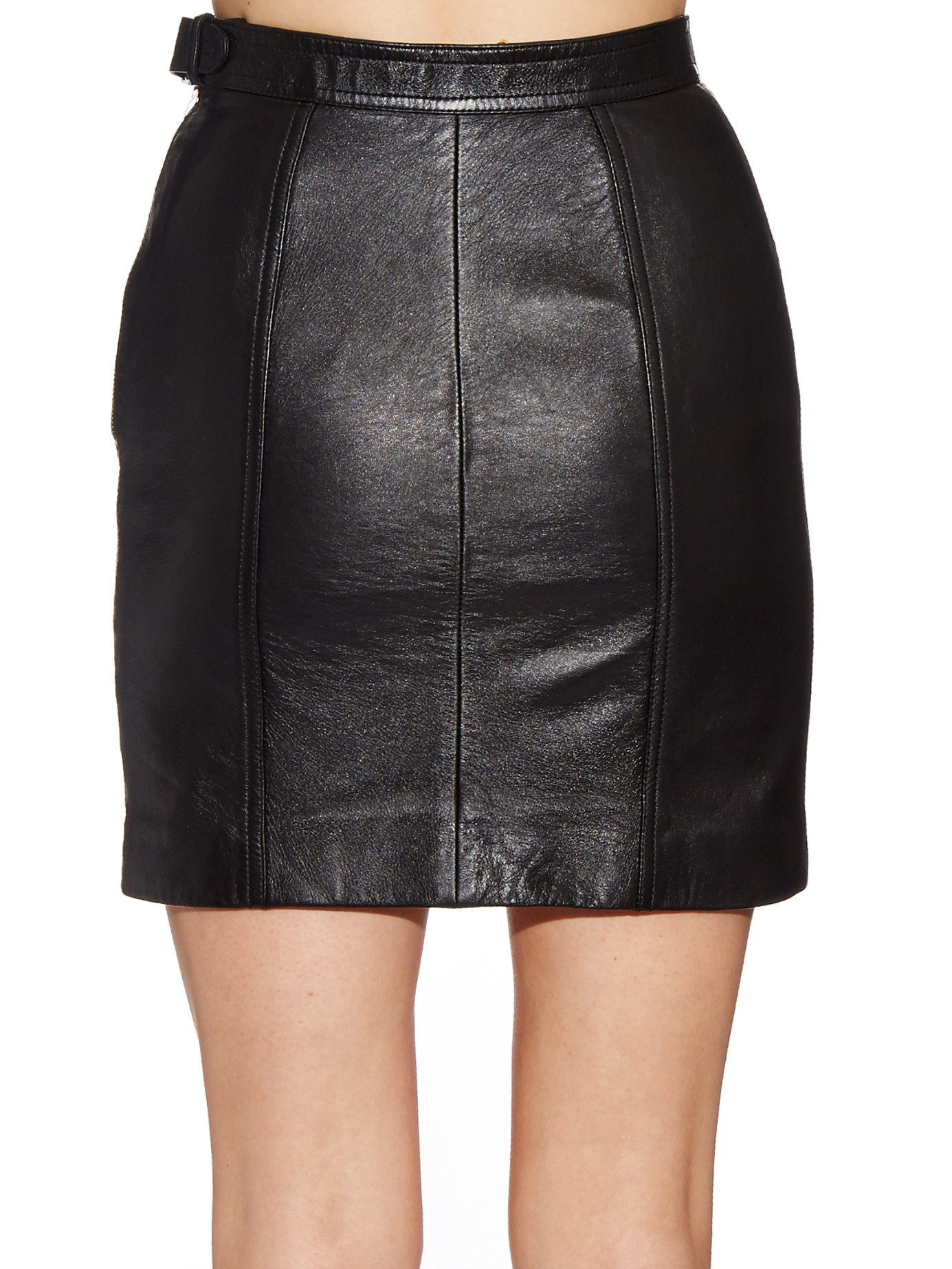 234cde802 Saint Laurent Side-buckle Leather Mini Skirt in Black - Lyst
