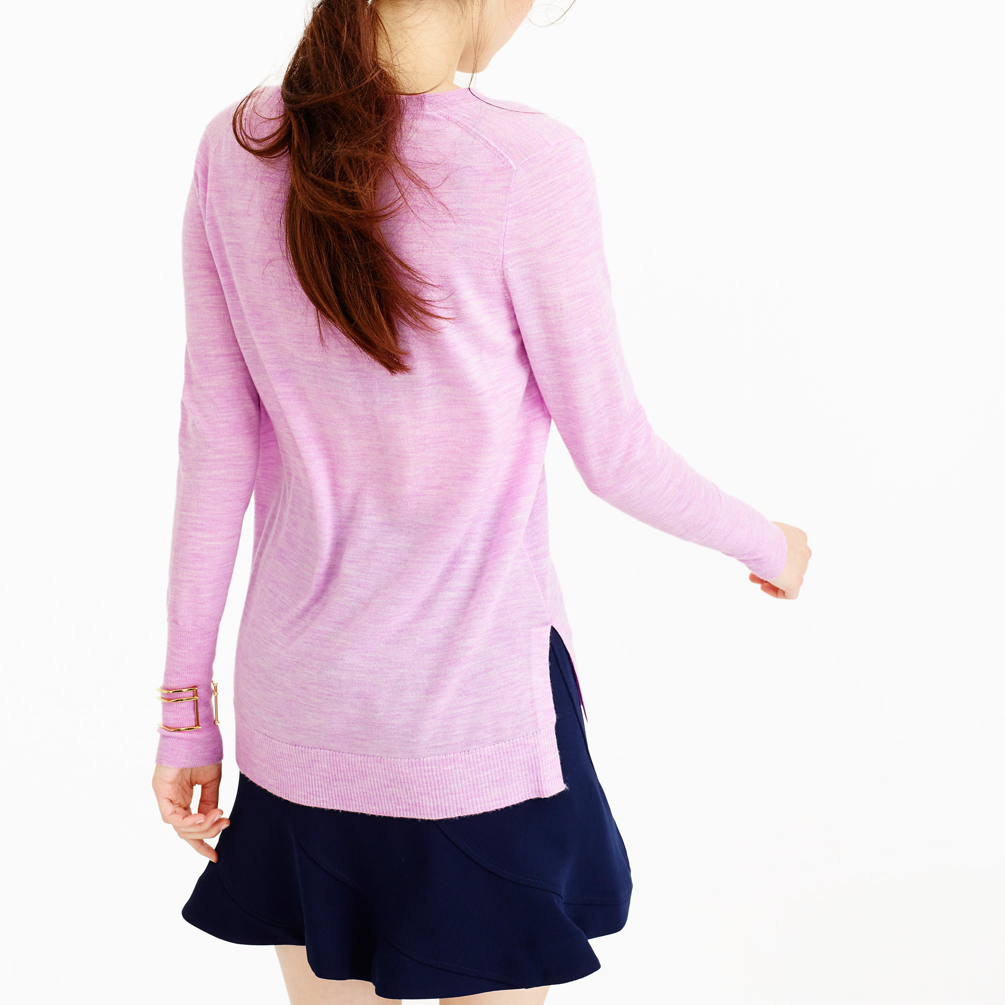 J.crew Petite Merino Wool V-neck Tunic Sweater in Purple | Lyst