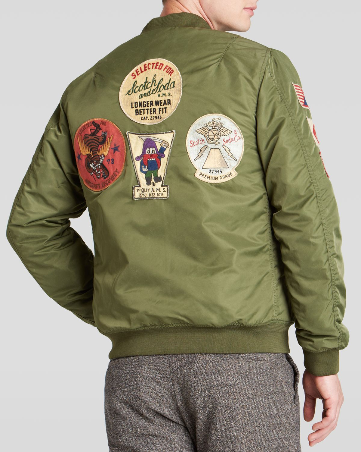 scotch soda patched bomber jacket in green for men lyst. Black Bedroom Furniture Sets. Home Design Ideas