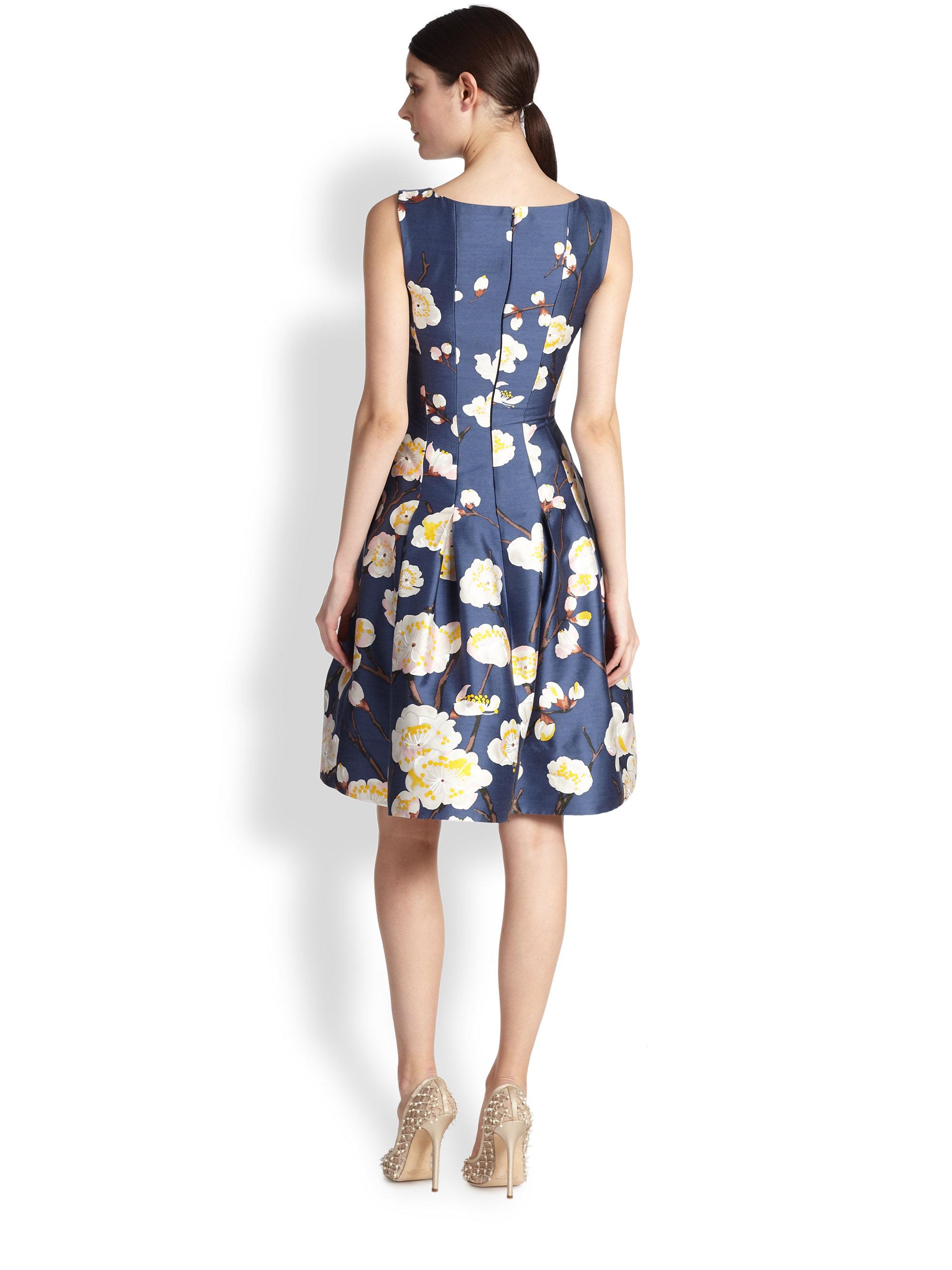 lyst oscar de la renta cherry blossomprint radzmir dress in blue. Black Bedroom Furniture Sets. Home Design Ideas