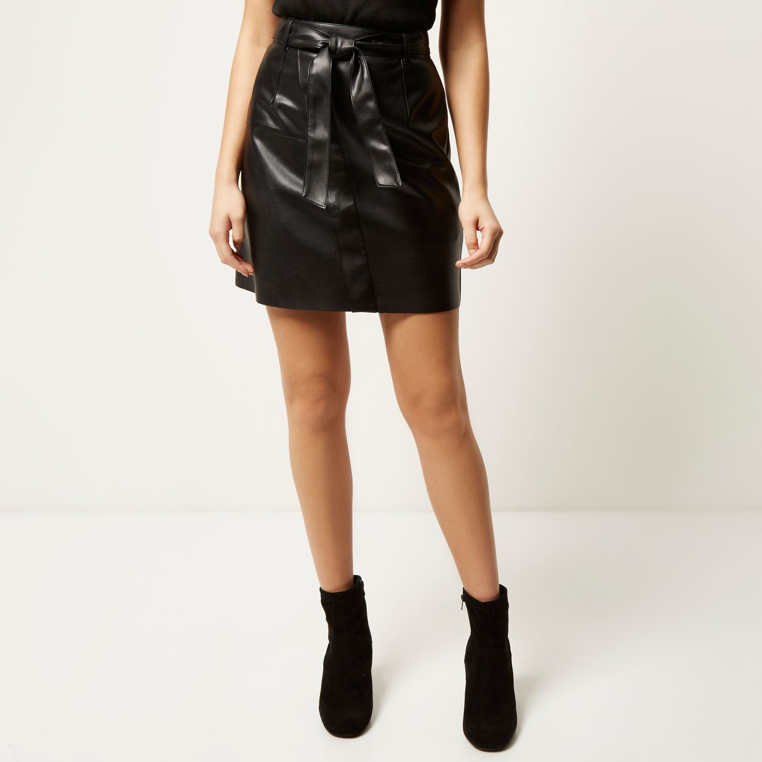 River island Black Leather-look Belted Mini Skirt in Black | Lyst