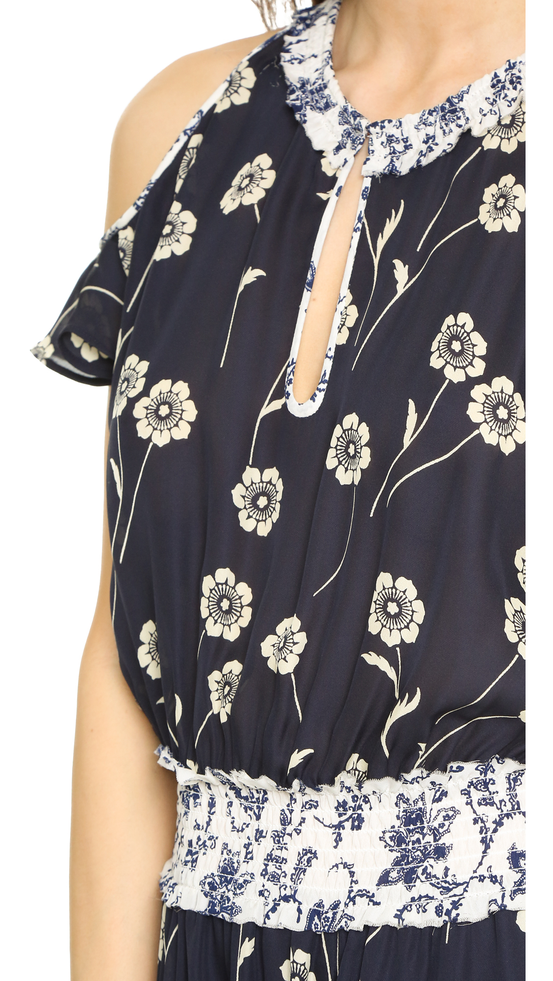 10 crosby derek lam floral sleeveless knot detail dress in for Derek lam 10 crosby shirt dress