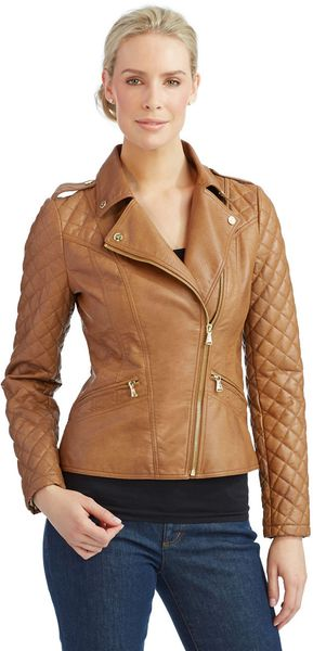 Guess Faux-Leather Faux-Fur-Trim Motorcycle Jacket in Gray (Stone