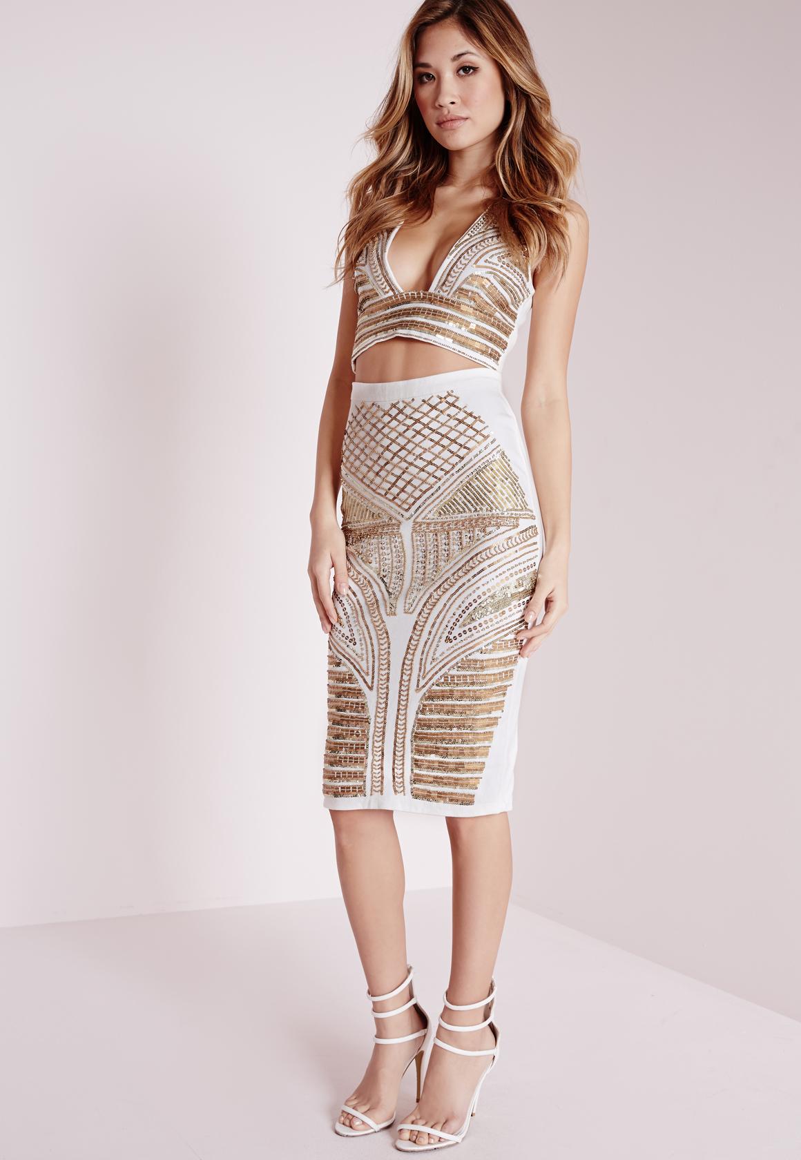 missguided premium embellished midi skirt white in white