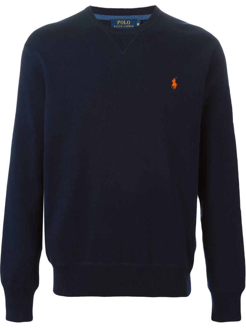 polo ralph lauren embroidered logo sweatshirt in blue for men lyst. Black Bedroom Furniture Sets. Home Design Ideas