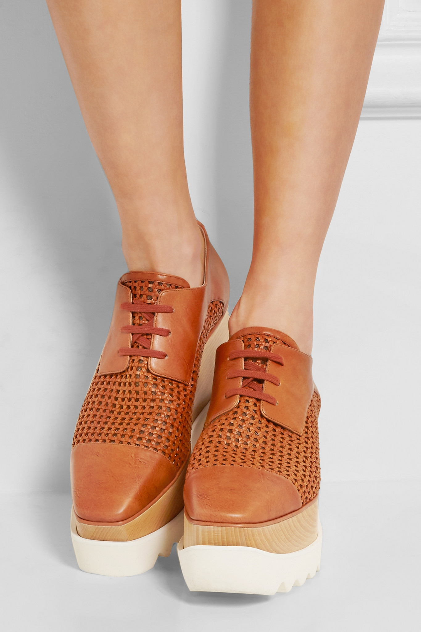 aa81f1967f Lyst - Stella McCartney Faux Leather Platform Brogues in Brown