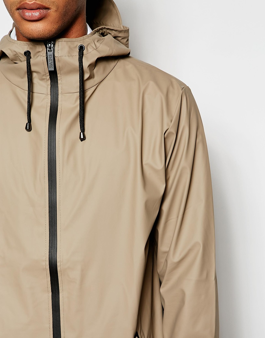 Rains Waterproof Jacket With Zip in Brown for Men | Lyst