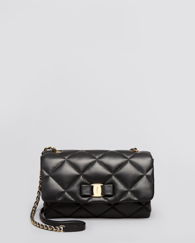 Lyst - Ferragamo Shoulder Bag - Gelly Quilted in Black f9a3d9e4f4bcd