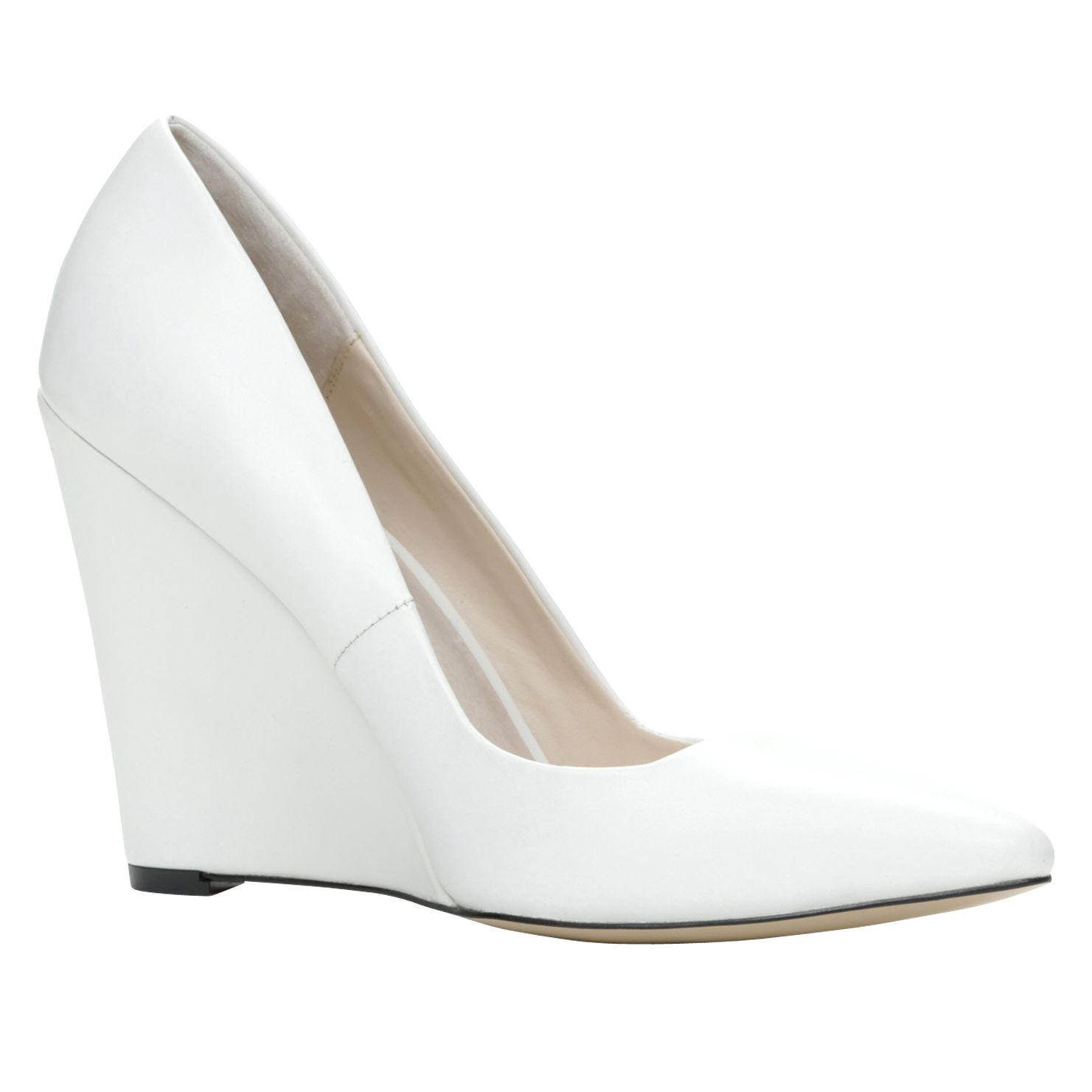 aldo cirrito pointed toe wedge court shoes in white lyst