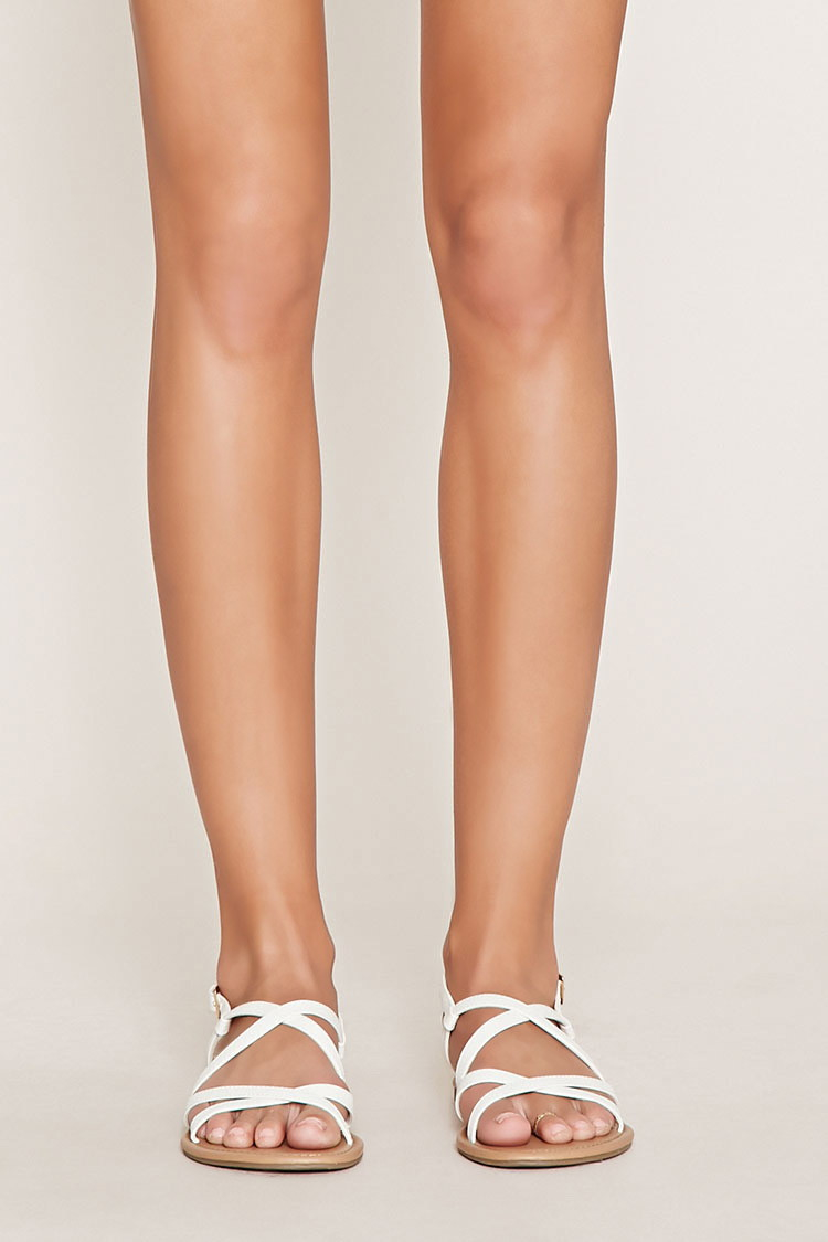 70e4af8e3653 Forever 21 Crisscross Faux Leather Sandals in White - Lyst
