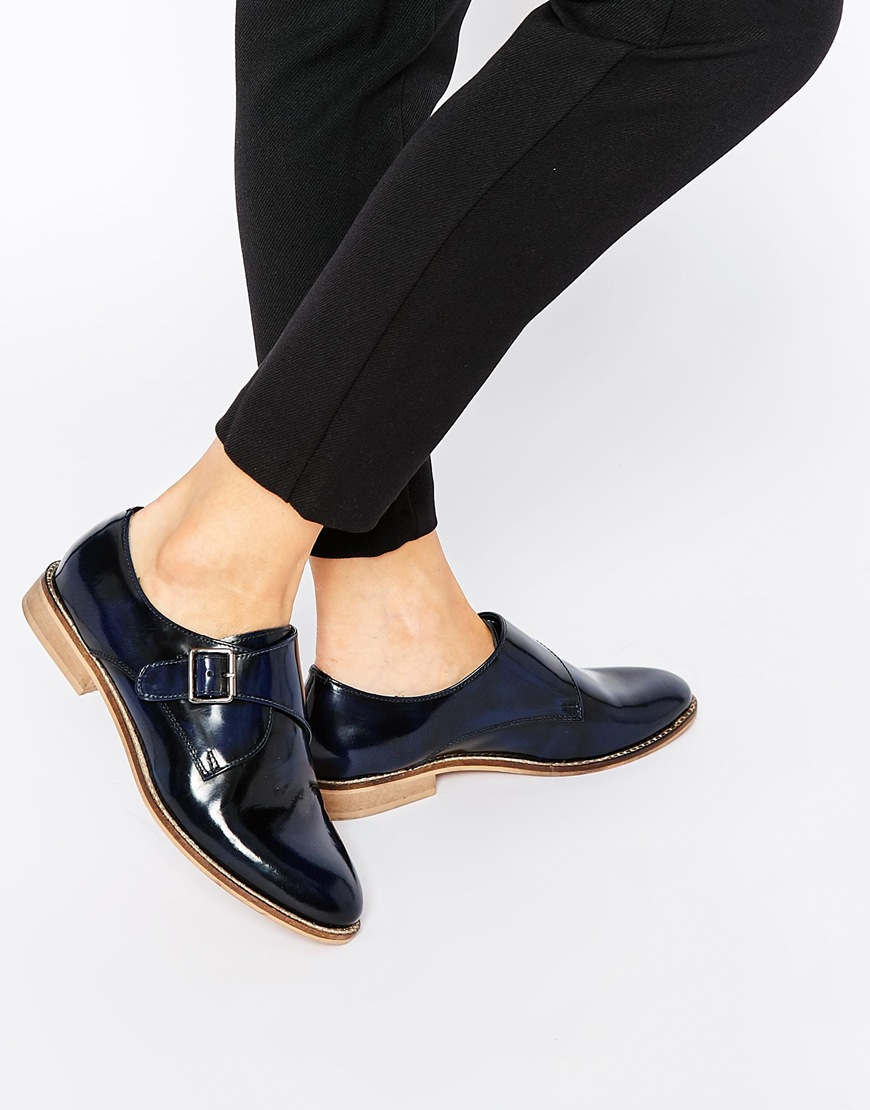 preview of how to choose where to buy ASOS Moss Wide Fit Leather Flat Shoes in Navy (Blue) - Lyst