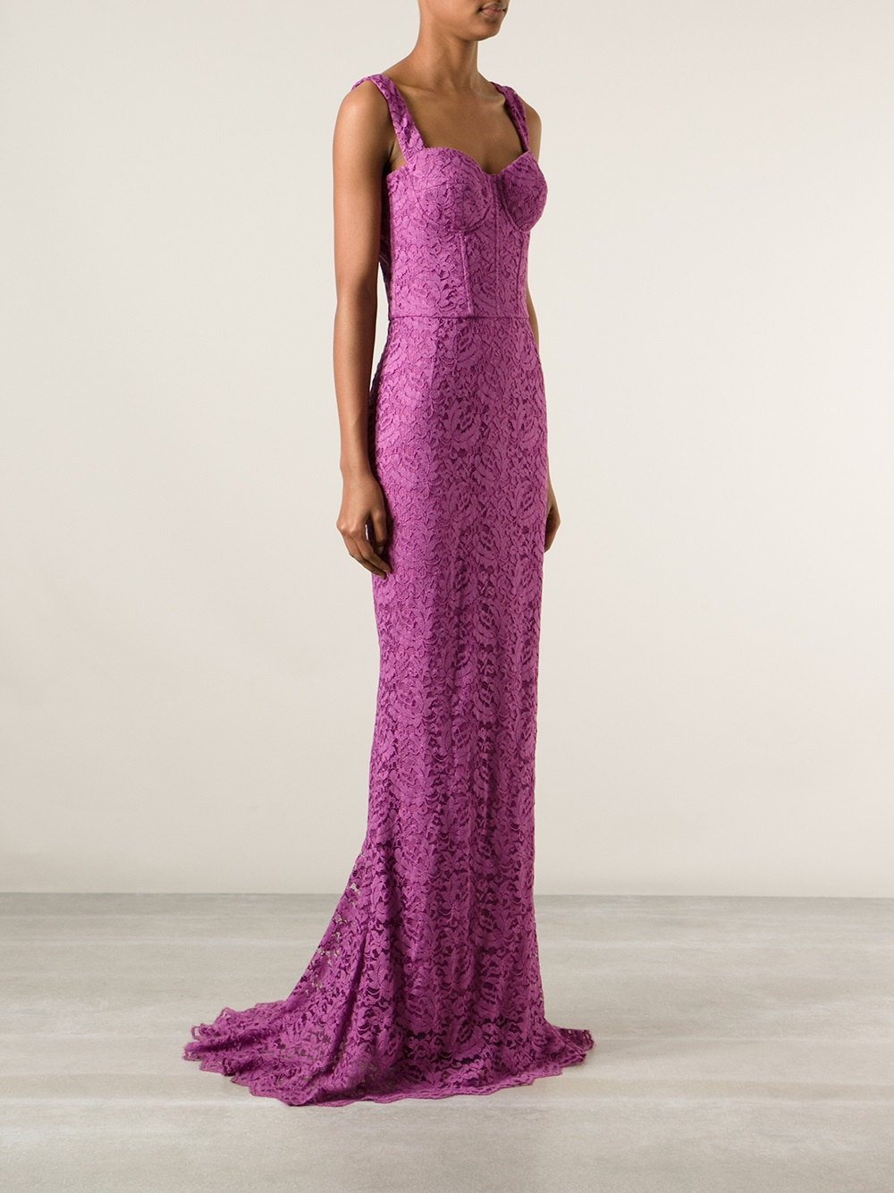 lyst dolce gabbana lace evening dress in purple. Black Bedroom Furniture Sets. Home Design Ideas
