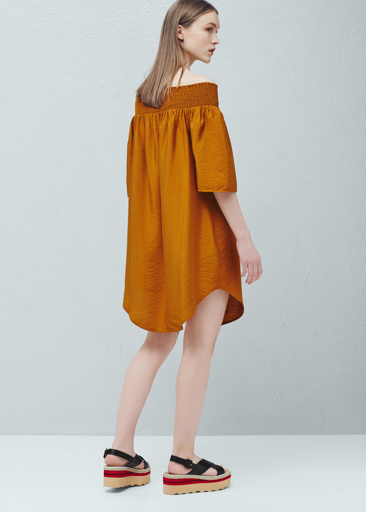 yellow dress flowy lyst mango off shoulder dress in yellow 4894