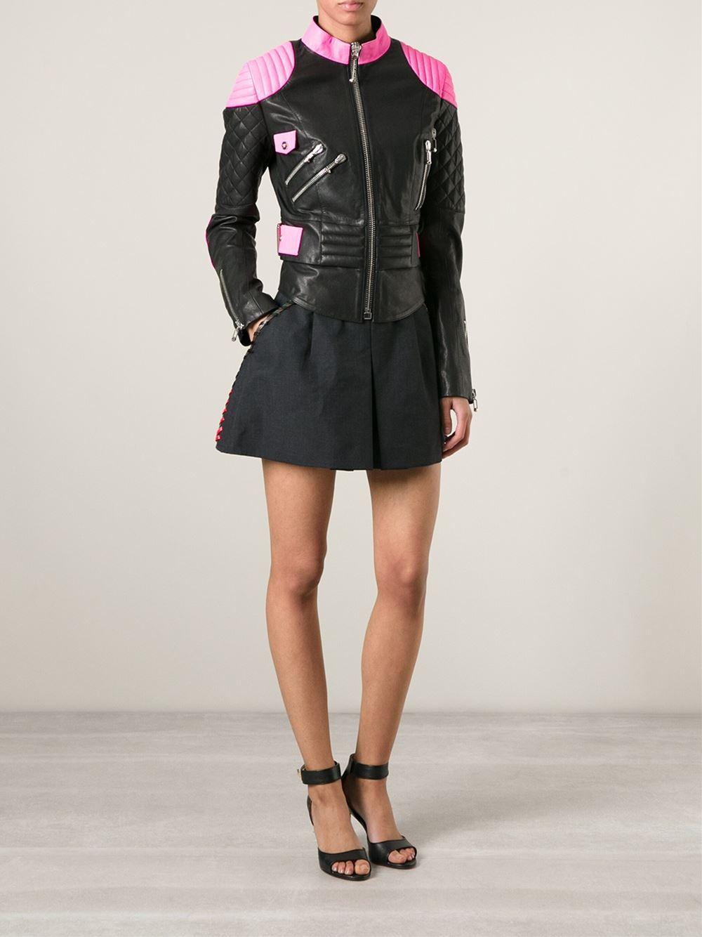 philipp plein quilted panel biker jacket in black lyst. Black Bedroom Furniture Sets. Home Design Ideas