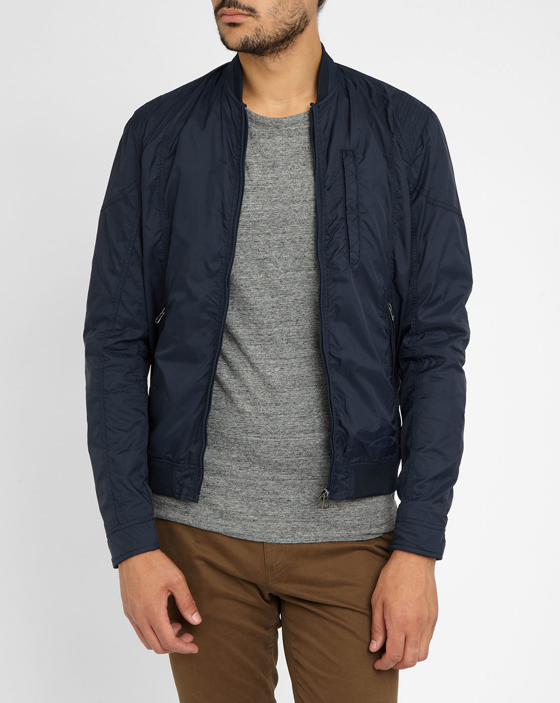 jack jones navy bomber jacket in blue for men lyst. Black Bedroom Furniture Sets. Home Design Ideas