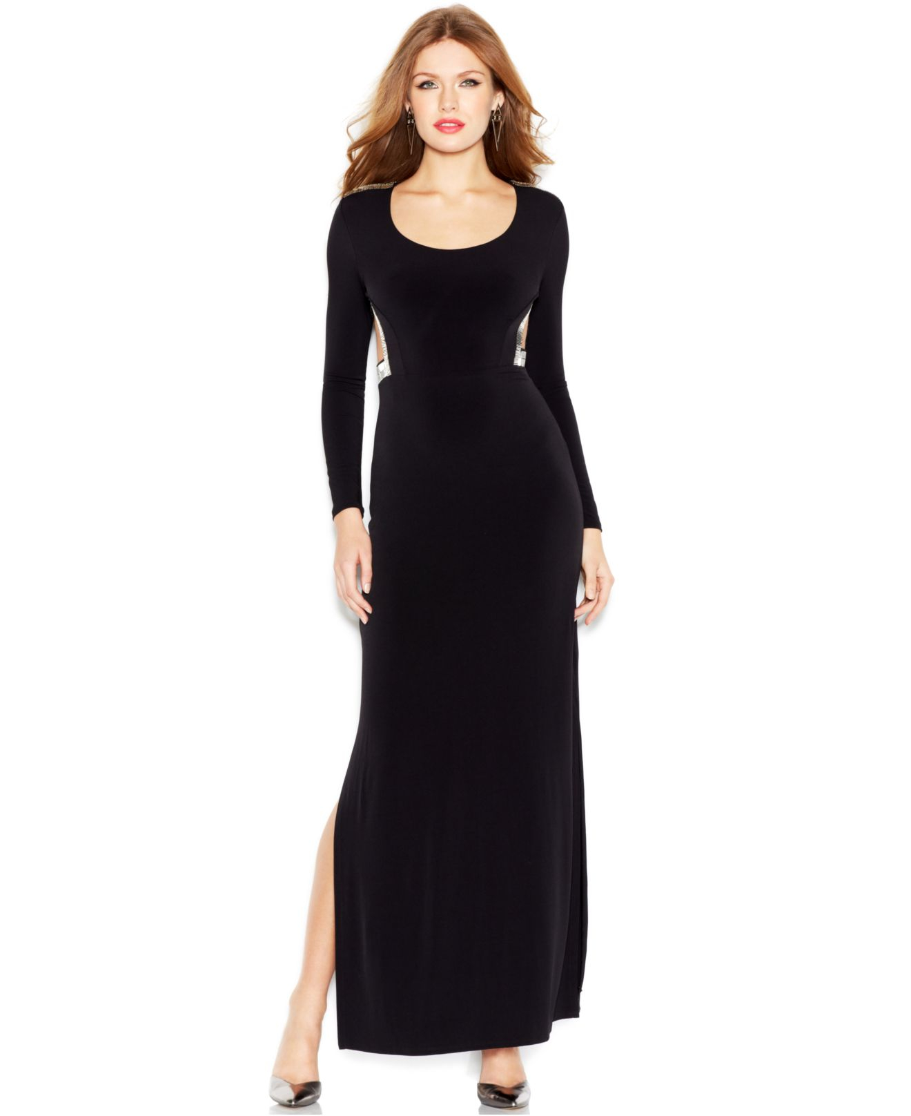 Guess Long-Sleeve Embellished Cutout Maxi Dress in Black | Lyst