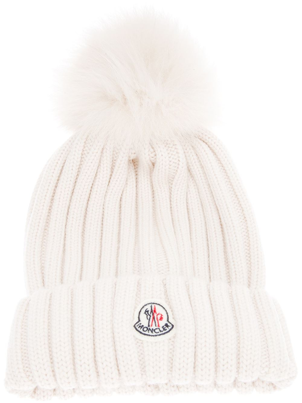 e3e7b88c7af Moncler Ribbed Knit Beanie Hat in Natural - Lyst