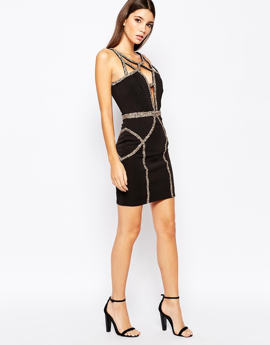 Lyst Wow Couture Bodycon Dress With Gold Diamonte Trim