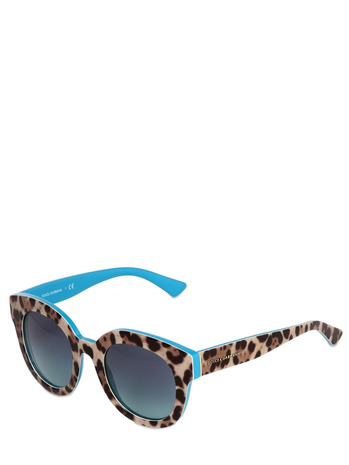 6d330bffa44 Blue Lyst In Sunglasses Dolce Rounded amp  Printed Leopard Gabbana 1vTq7g