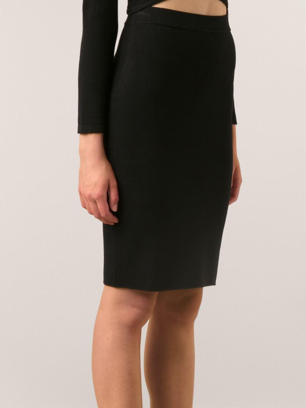 Jonathan simkhai Knit Pencil Skirt in Black | Lyst
