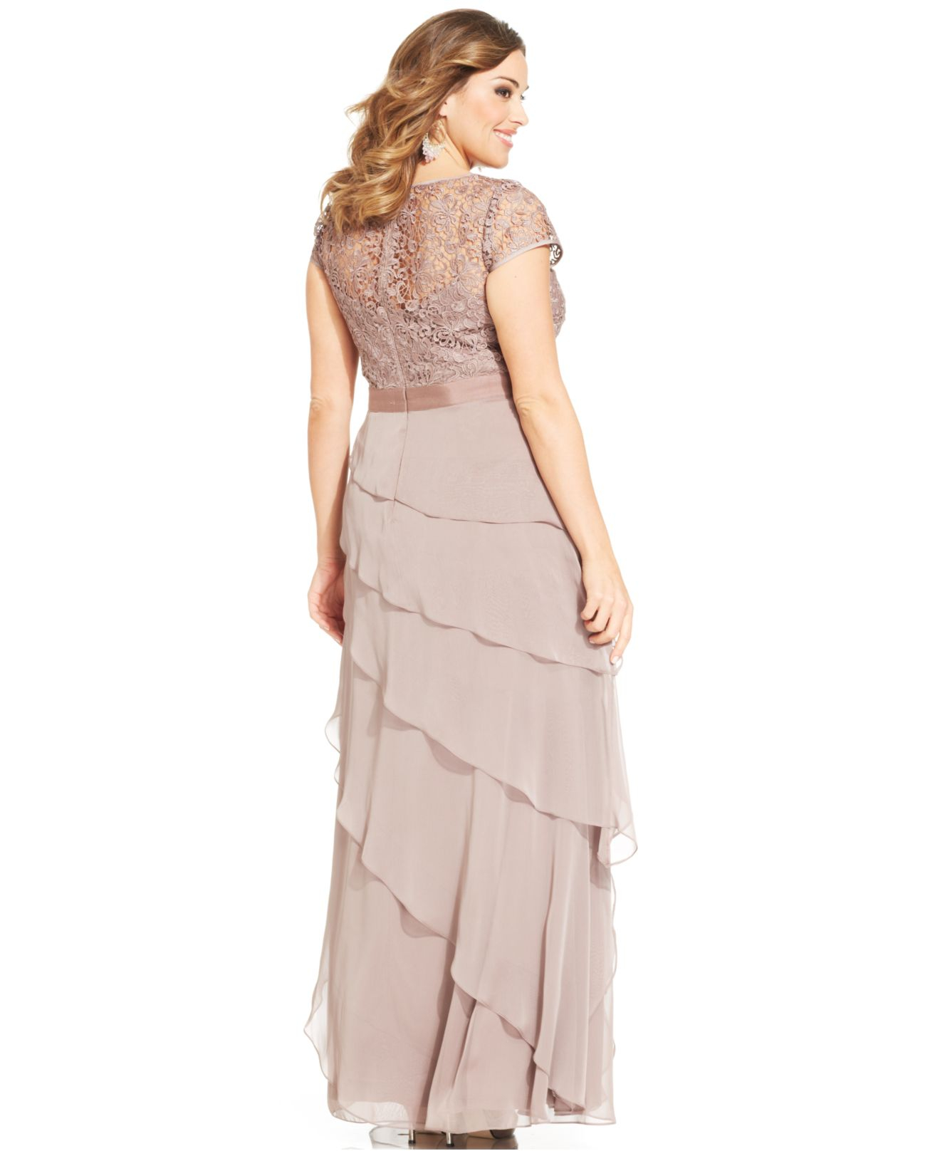 Adrianna papell Plus Size Cap-Sleeve Lace Tiered Gown in Pink | Lyst