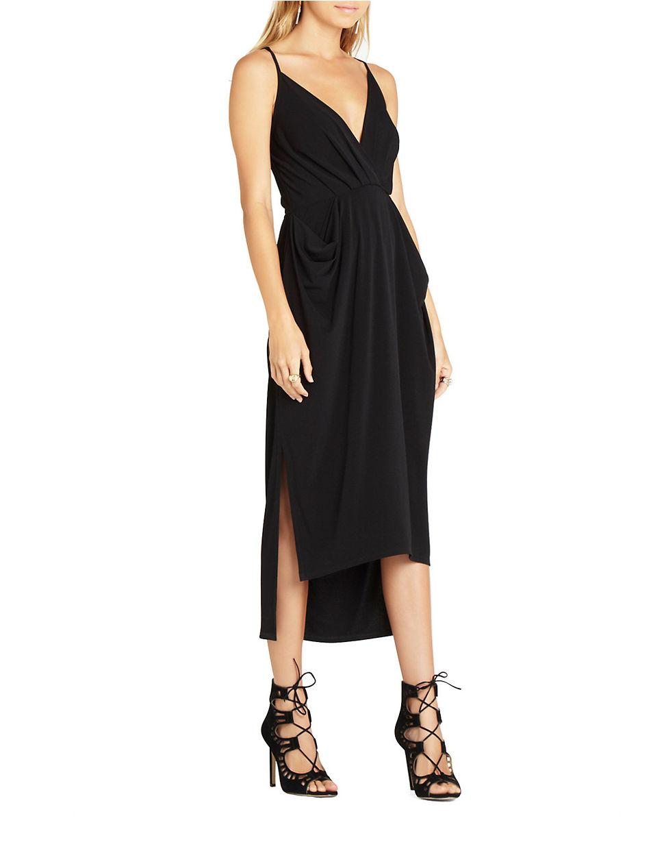 Bcbgeneration Faux Wrap Midi Dress In Black Lyst
