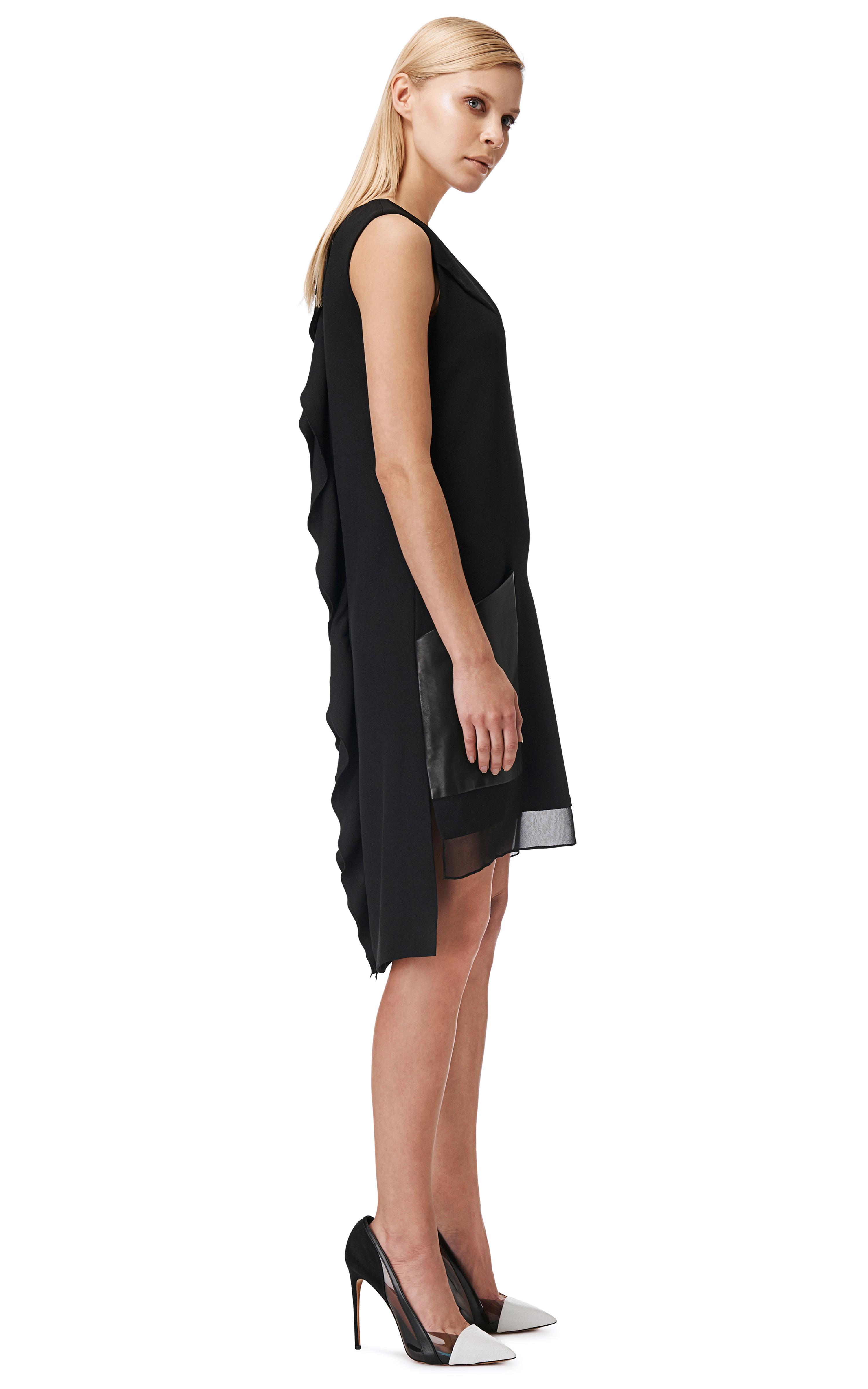 black tunic dress with pockets
