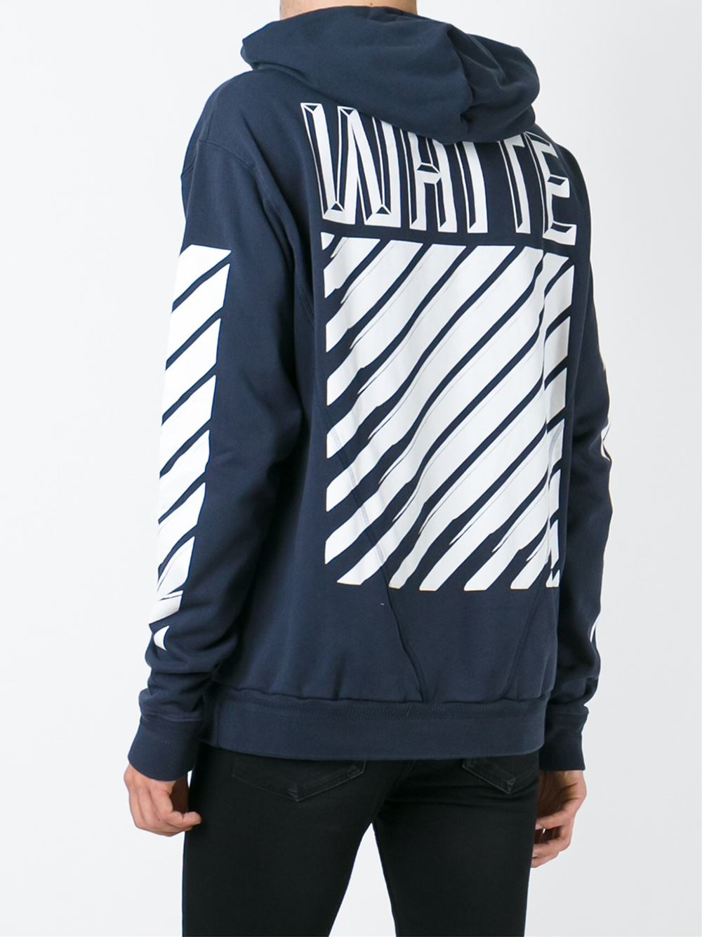 Lyst - Off-White c o Virgil Abloh Striped Sleeve Hoodie in Blue for Men feda06c48