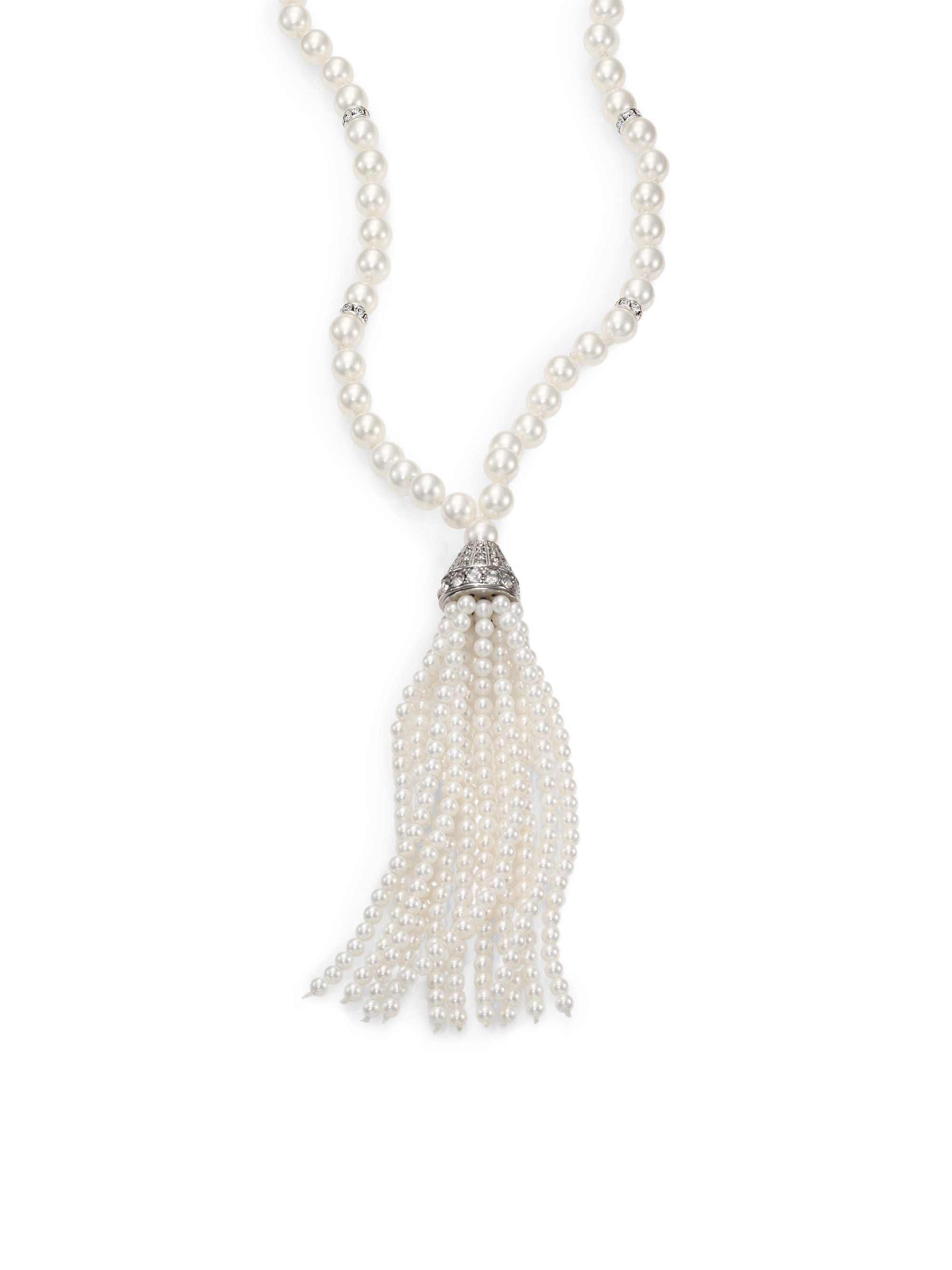 Lyst - Kenneth Jay Lane 5Mm-8Mm White Shell Pearl Long Tassel ... e788e8bc8c36