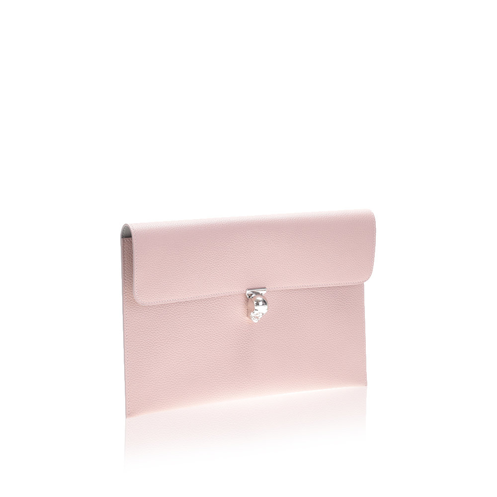 Alexander mcqueen Light Pink Hammered Leather Clutch Bag in Pink ...
