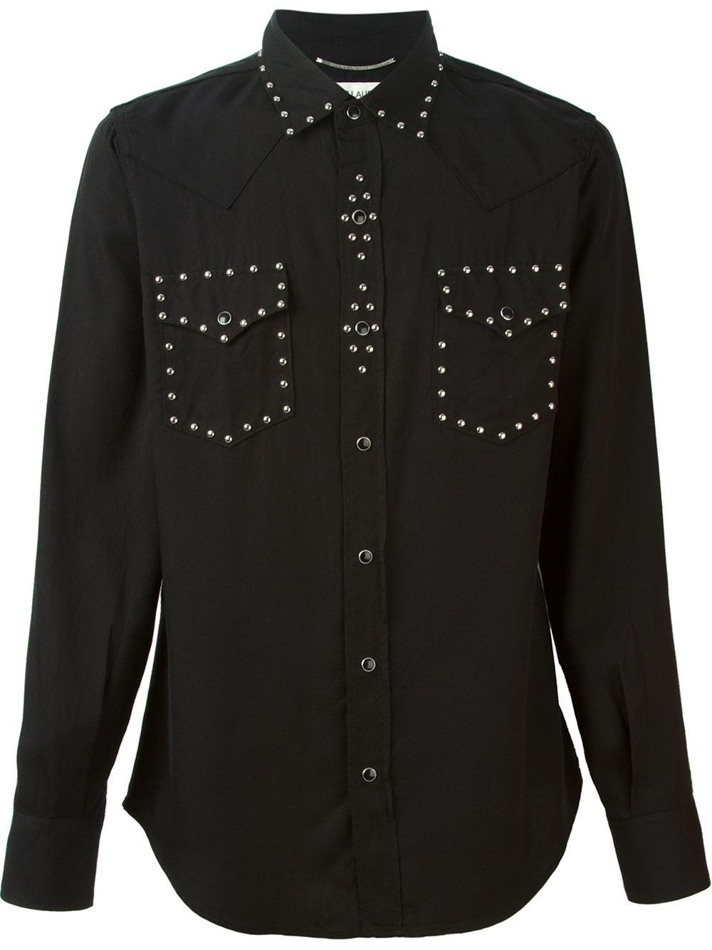 saint laurent studded western shirt in black for men lyst