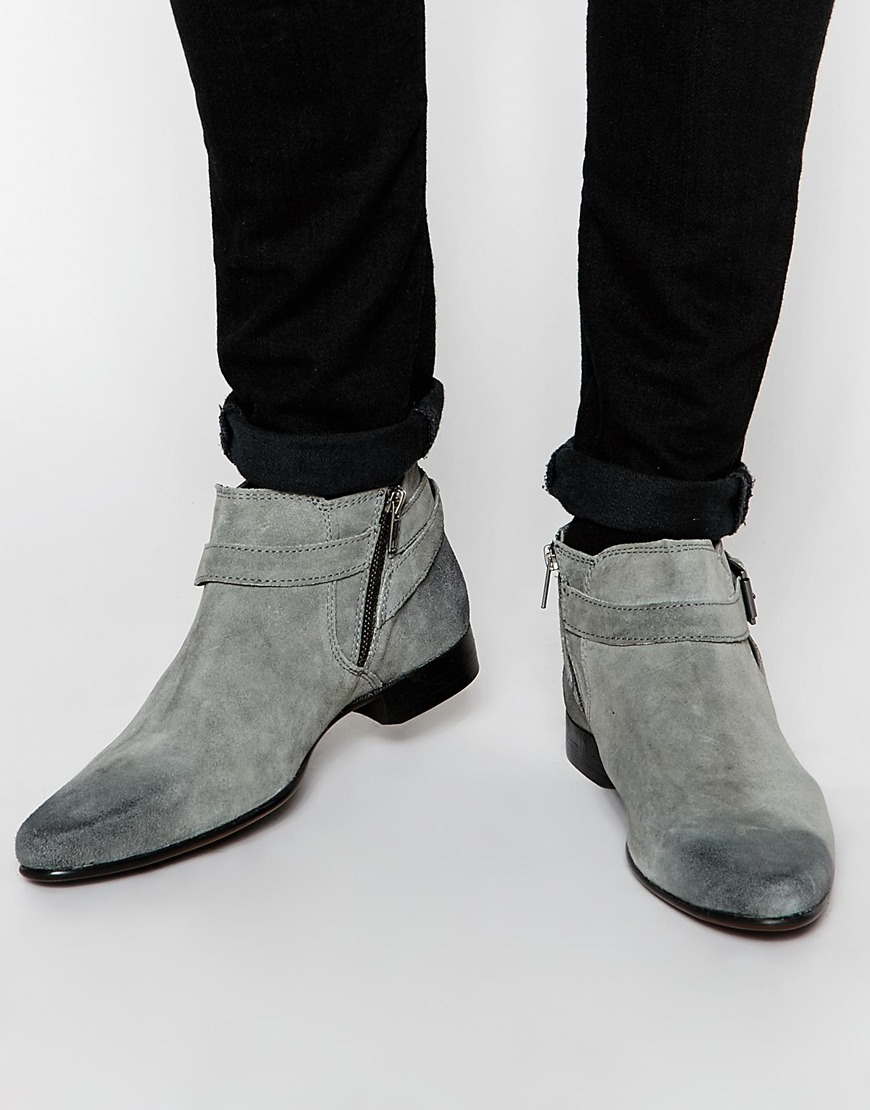 Lyst Asos Chelsea Boots In Grey Suede With Buckle Strap