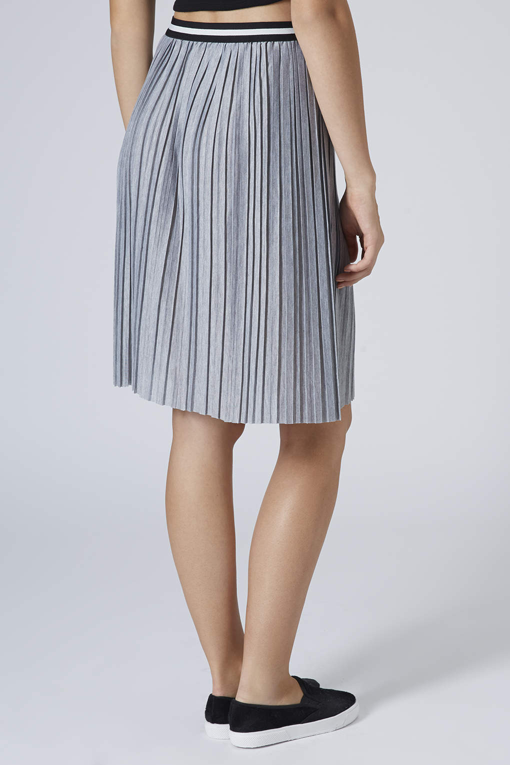 topshop jersey pleated sporty midi skirt grey marl in gray
