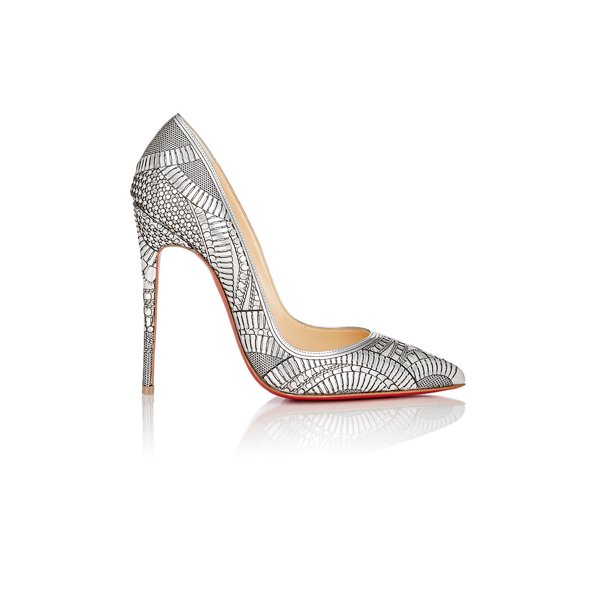 christian louboutin knock off - Christian louboutin Kristali Laser-Cut Leather Pumps in Silver | Lyst