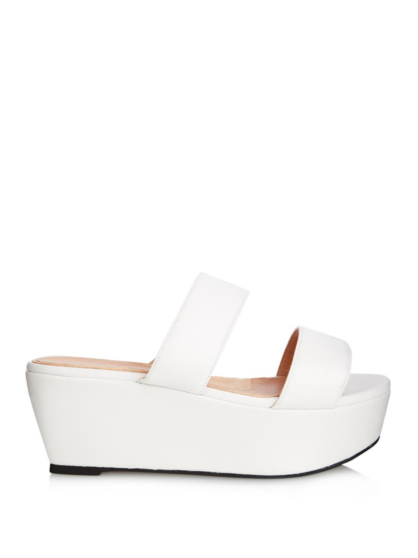 a83fdc50864 Lyst - Robert Clergerie Frazzia Leather Platform Slides in White