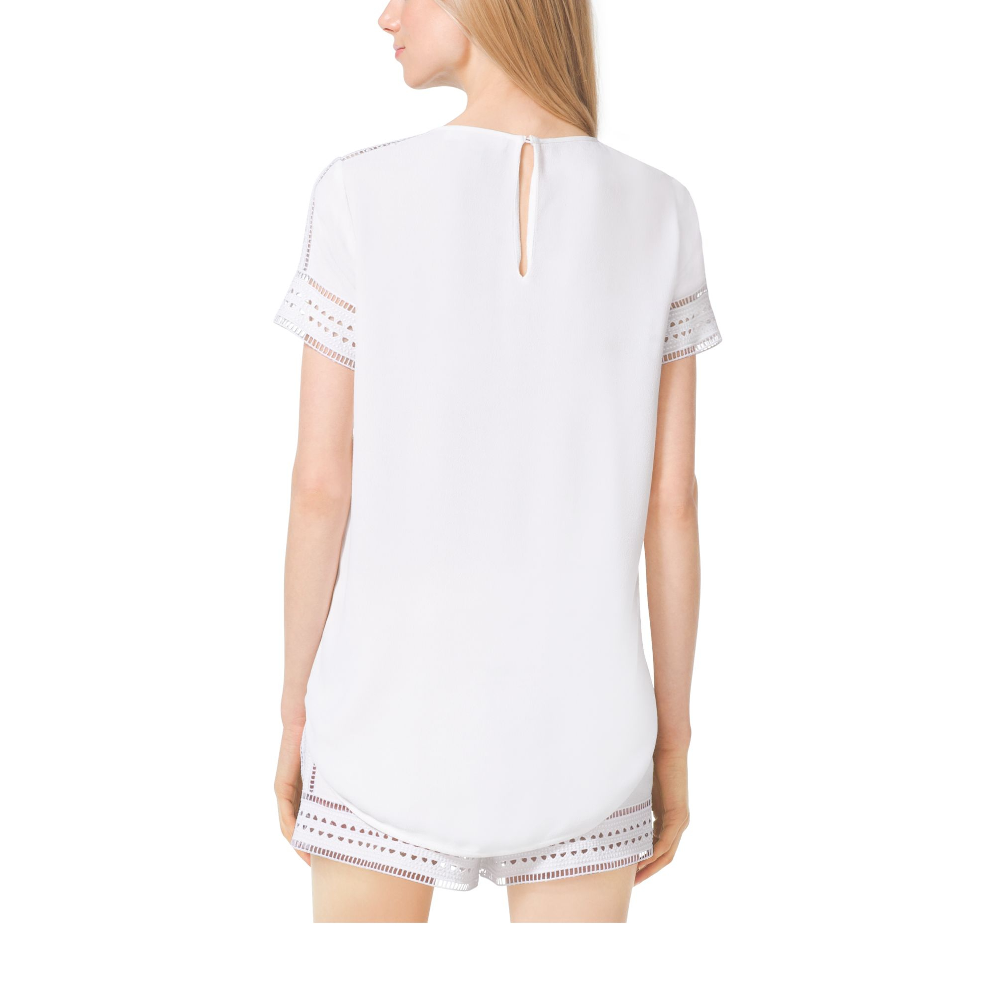 michael kors perforated crepe t shirt in white lyst. Black Bedroom Furniture Sets. Home Design Ideas