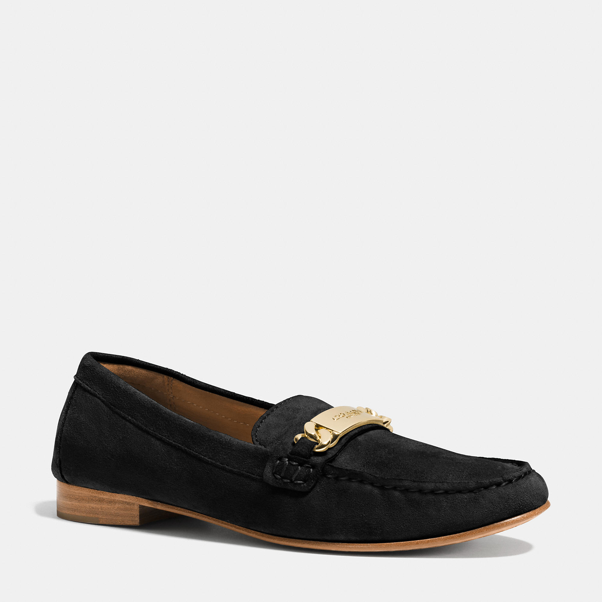 Lyst Coach Kimmie Topstitched Suede Loafers In Black